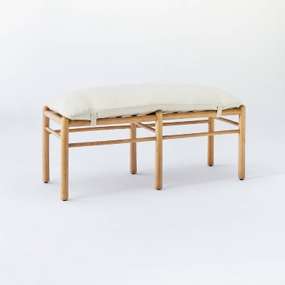 Emery Wood and Upholstered Bench with Straps Natural - Threshold™ designed with Studio McGee