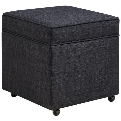 Ruby Black Linen Cube Ottoman - Hidden Storage - Castered Leg - Tufted in Black - Posh Living - image 1 of 3