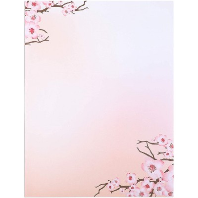 Pipilo Press 100 Sheets Japanese Cherry Blossom Stationery Set, Pink, 8.5 x 11 In