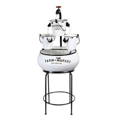 """36"""" Buckets with Faucet Tabletop Fountain White - Alpine Corporation"""