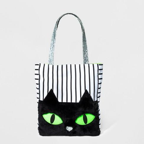 S Cat Tote Bag Jack Black White