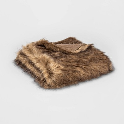 Faux Fur Throw Blanket Brown - Threshold™