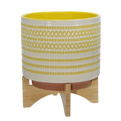 Ceramic Planter on Stand with Dots - Sagebrook Home
