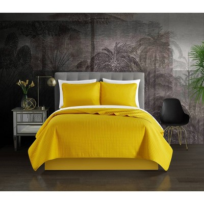 Queen 3pc Nika Quilt Set Yellow - Chic Home Design
