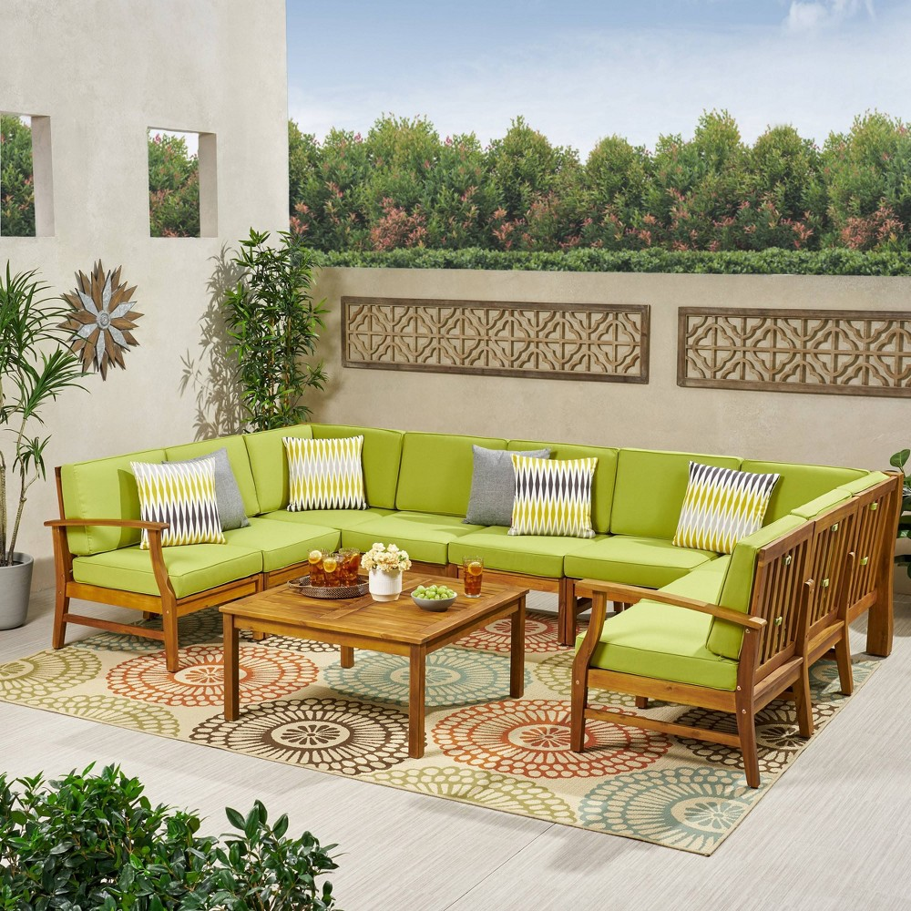 Image of 10pc Perla 10pc Acacia Wood Patio Seating Set - Teak/Green - Christopher Knight Home, Brown/Green