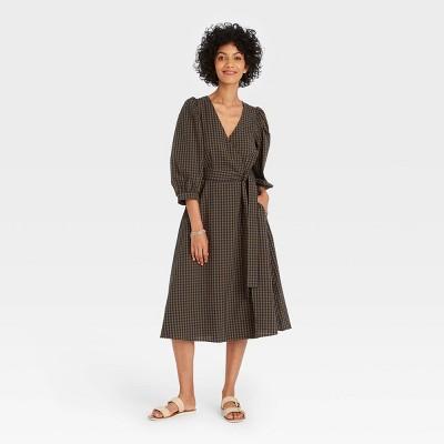 Women's 3/4 Sleeve Wrap Dress - A New Day™