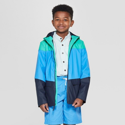 Boys' Pieced Rain Jacket - Cat & Jack™ Green/Blue/Navy - image 1 of 3