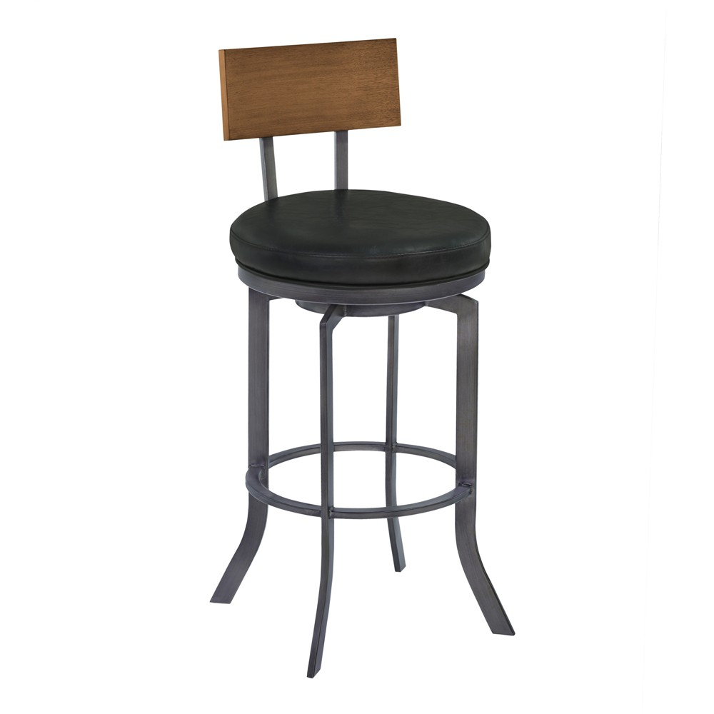 26 Armen Living Ojai Counter Height Metal Swivel Barstool Vintage Black