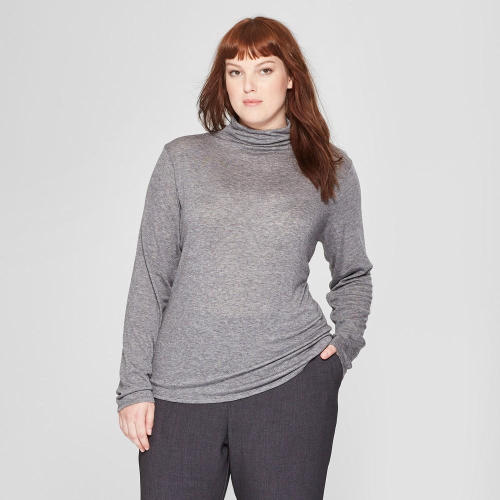 Women's Plus Size Long Sleeve Mock Neck T-Shirt - Prologue Heather Gray 4X