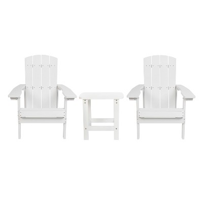 Merrick Lane Set of 2 All-Weather Adirondack Patio Chairs with Matching Side Table