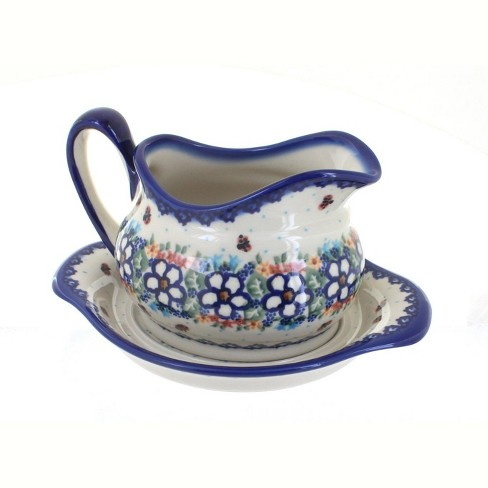 Blue Rose Polish Pottery Scarlett Gravy Boat & Plate - image 1 of 1