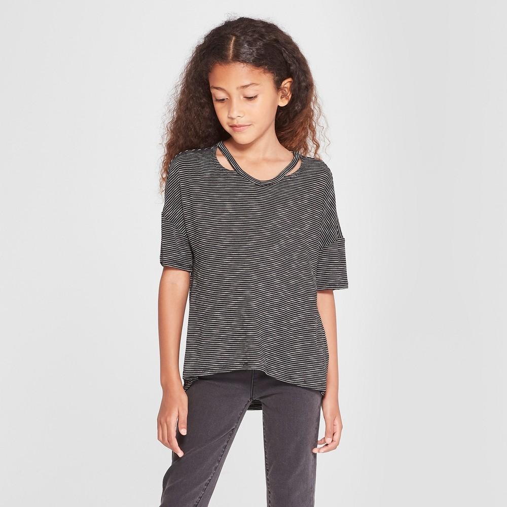 Girls' Cut Out Short Sleeve Top - art class Black/White Xxl