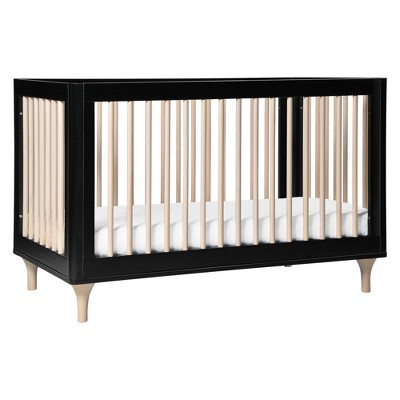 Babyletto Lolly 3-in-1 Convertible Crib with Toddler Bed Conversion Kit - Black/Washed Natural
