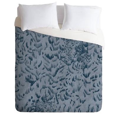 Queen/Full Pattern State Tiger Sketch Duvet Set - Deny Designs