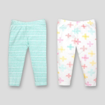 Lamaze Baby Girls' Organic Cross Print 2pk Pants - Turquoise Newborn