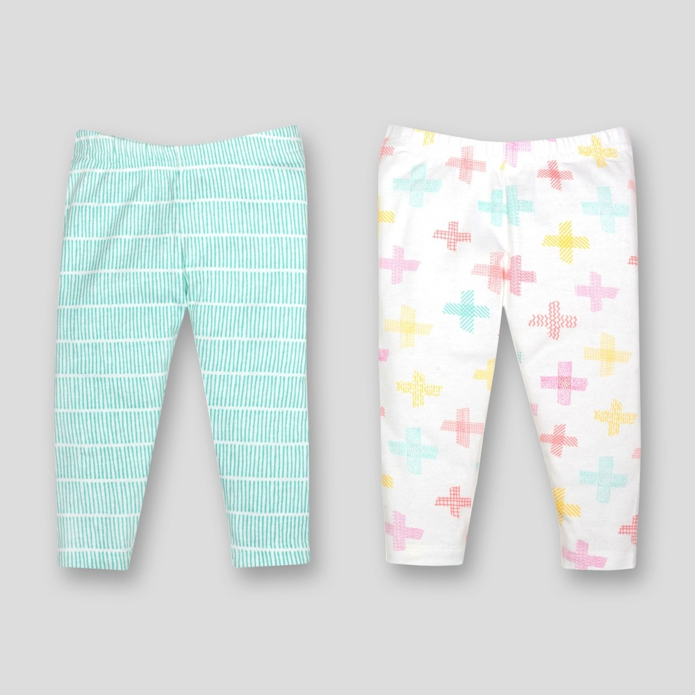 Lamaze Baby Girls' Organic Cross Print 2pk Pants - Turquoise 12M, Blue