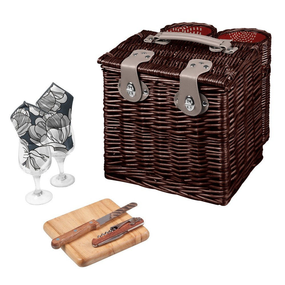 Image of Picnic Time 6pc Vino Wine & Cheese Basket, Brown