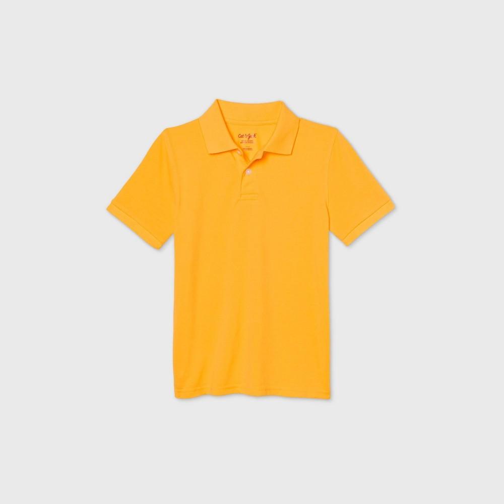 oversizeBoys Short Sleeve Stretch Pique Uniform Polo Shirt - Cat & Jack Gold L Husky
