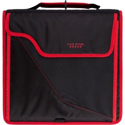 "Five Star 850 Sheet 3"" Ring Zipper Binder Black/Red"