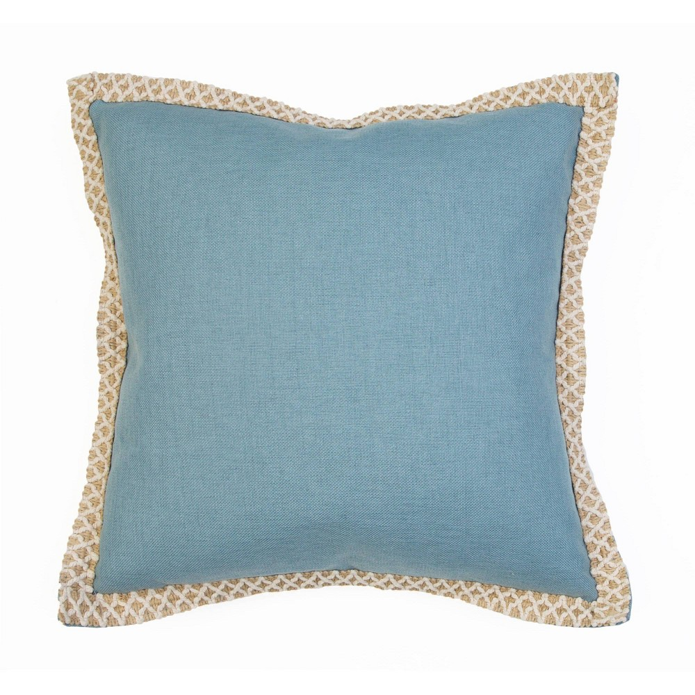 """Image of """"19""""""""x19"""""""" Andrea Embroidered Flange Pillow Teal - Décor Therapy"""""""