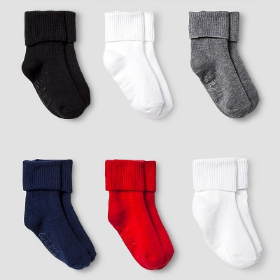 Boys' Solid Bobbie Sock with Gripper 6 pk Cat & Jack™ - Multicolored 12-24M