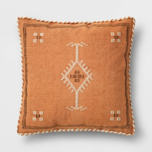 Square Woven Cotton Throw Pillow with Braid Trim - Threshold™ - image 1 of 4