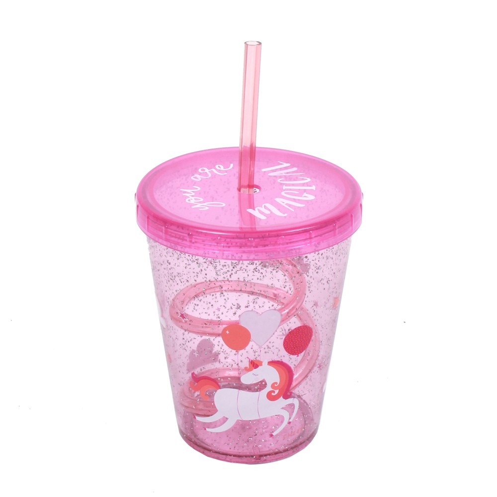 Image of Cheeky 14.5oz Plastic Straw Tumbler Unicorn Pink