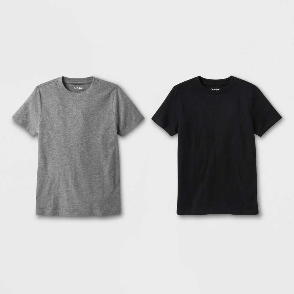 Boys' 2pk Short Sleeve T-Shirt - Cat & Jack Black/Gray XS