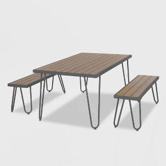 Paulette 3pc Patio Table and Bench Set - Charcoal Gray - Novogratz