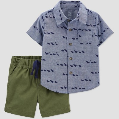 Baby Boys' 2pc Dino Denim Top & Bottom Set - Just One You® made by carter's Blue/Green