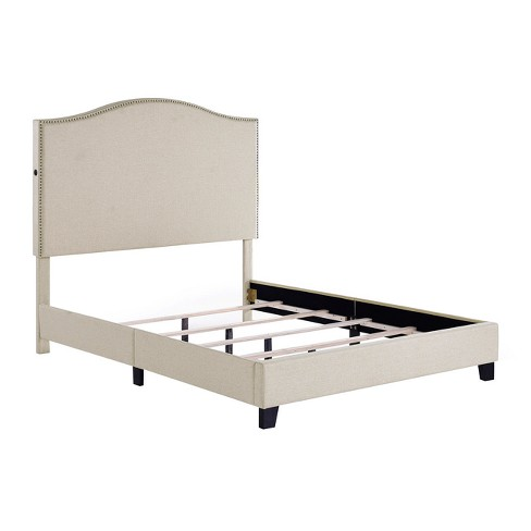 Camel Back All In One Beige Queen Upholstered Bed With Usb Tan