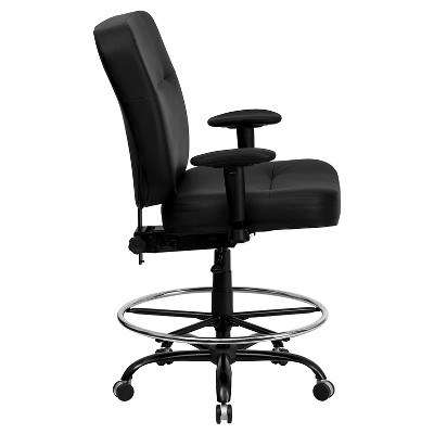Capacity Big U0026 Tall Drafting Chair Extra Wide Seat Black Leather   Flash  Furniture : Target