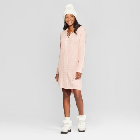 f7aff17eacfa Women s Long Sleeve Lace-Up Cable Knit Sweater Dress - Almost Famous  (Juniors ) Pink