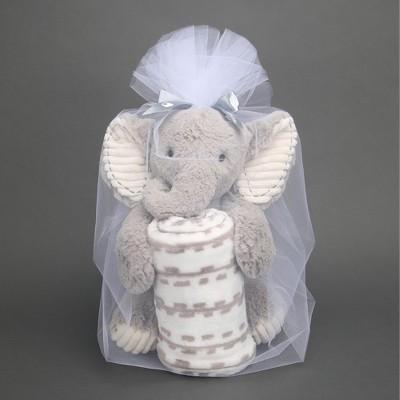 Lambs & Ivy Blanket & Plush Luxury Newborn Baby Gift Set - Gray Elephant