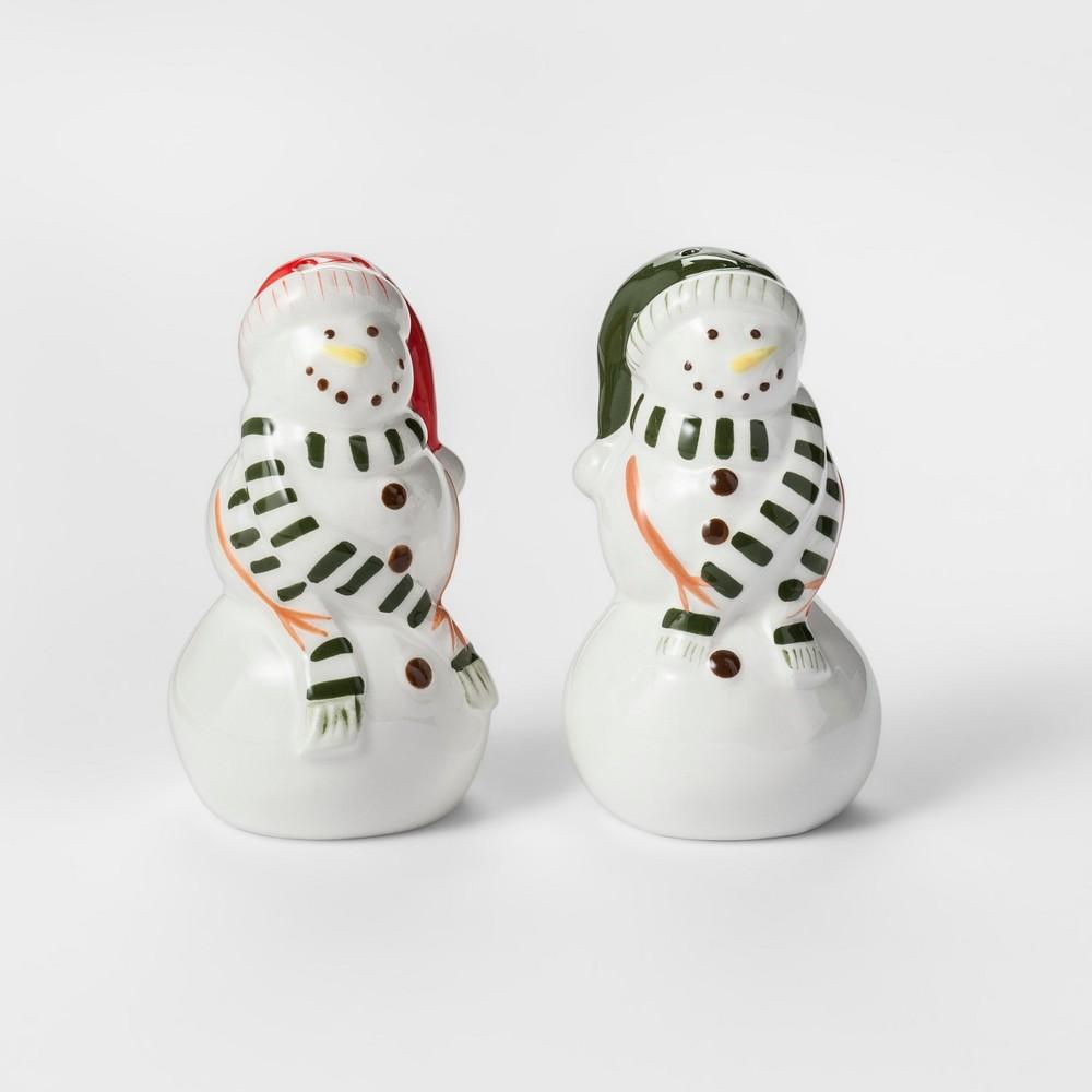 Earthenware Snowman Salt And Pepper Shaker Set White/Green - Threshold