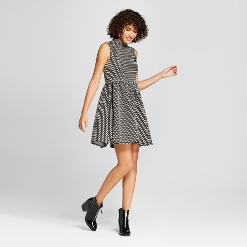 876bbb7c0a120 Women s Sleeveless Knit Jacquard Fit   Flare - Xhilaration™ Black ...