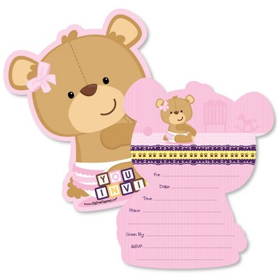 Big Dot of Happiness Baby Girl Teddy Bear - Shaped Fill-in Invitations - Baby Shower Invitation Cards with Envelopes - Set of 12
