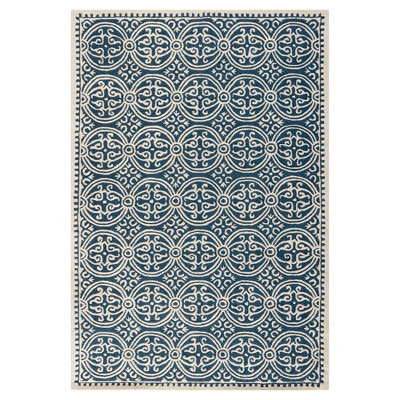 Navy/Ivory Color Block Tufted Area Rug 7'6 X9'6  - Safavieh