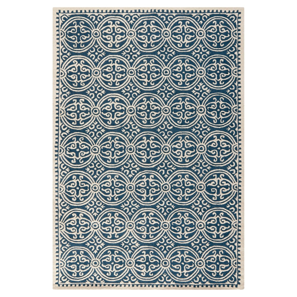 Navy/Ivory (Blue/Ivory) Color Block Tufted Area Rug 7'6