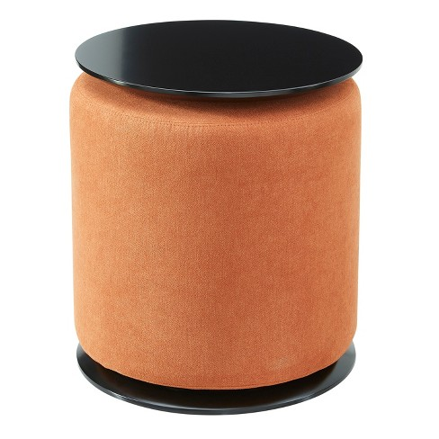 Mhf Accent Table With Nesting Lightweight Ottoman Round Footstool Orange 2 Piece Set Target