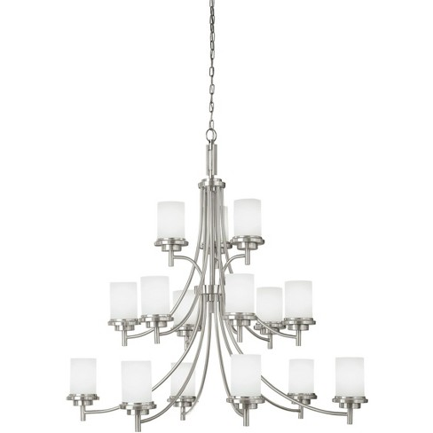 Sea Gull Lighting Winnetka 15 Light 46 Large 3 Tier Brushed Nickel Ceiling Chandelier 31663 962 Target