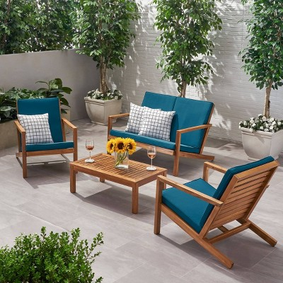 4pc Leah Acacia Wood Patio Chat Set - Christopher Knight Home