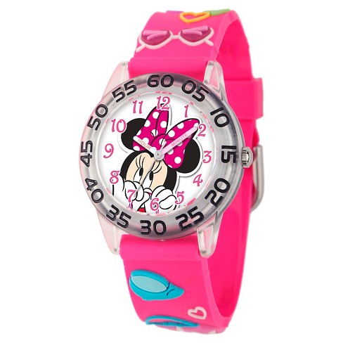 Disney® Girls' Minnie Mouse 3D Plastic Watch - Pink - image 1 of 2