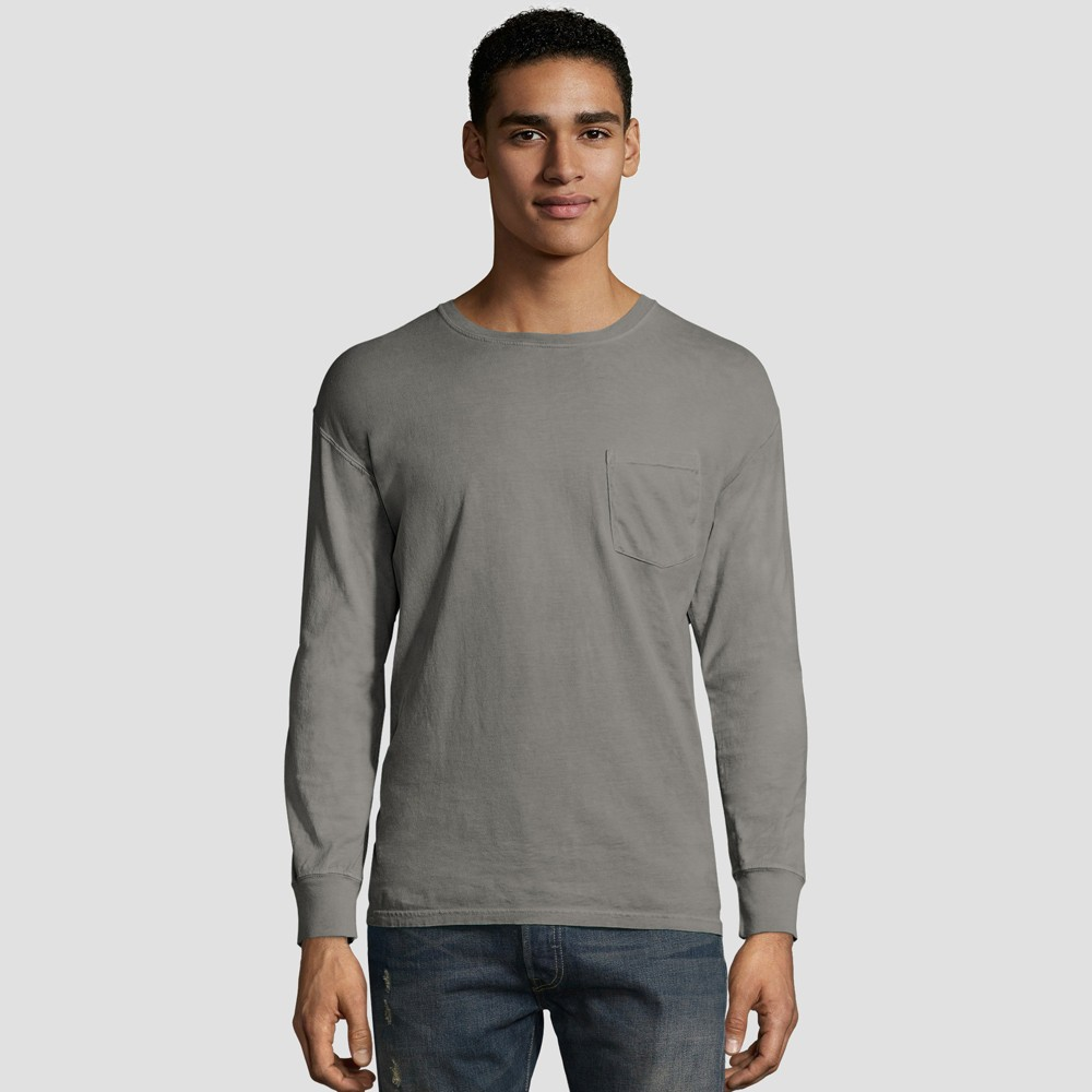 Hanes Men 39 S Long Sleeve 1901 Garment Dyed Pocket T Shirt Gray M