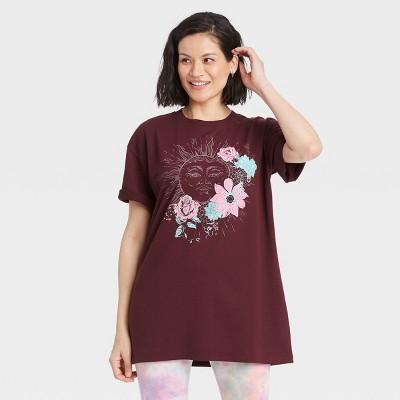 Women's Sun Short Sleeve Graphic T-Shirt Dress - Burgundy Floral