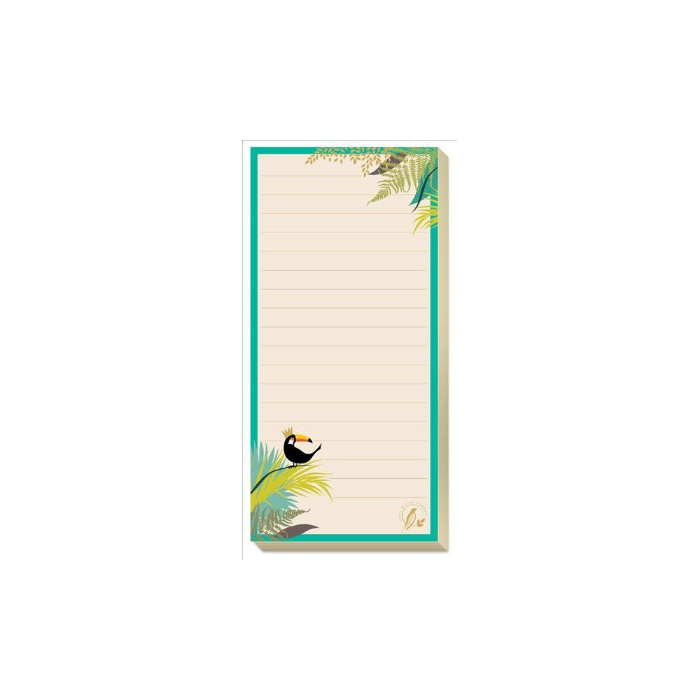 Sara Miller Magnetic Jotter - (Stationery) Celebrate print, pattern, and color with this magnetic jotter from award-winning designer Sara Miller! Whether you need to make a list or leave a note for a loved one, it's about to become a little more organized, and more stylish, with the help of this gorgeous tropical list pad. Featuring adorable images of a toucan perched on a branch, and 90 tear-off sheets, this pad has a magnet on the back so it will stick on a fridge or other metal surface.