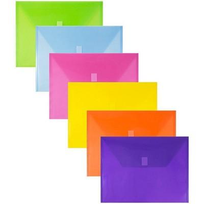 JAM Paper 9 3/4'' x 13'' 6pk Plastic Envelopes with Hook & Loop Closure, Letter Booklet - Multicolor