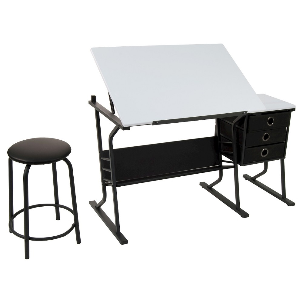 Eclipse Hobby Table with Stool - Black/White