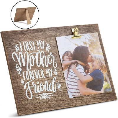 """Juvale """"First My Mother Forever My Friend"""" Wood Tabletop Picture Photo Frame with Clip for 5x7 Photo Mother's Day Gift, Brown 12""""x9"""""""