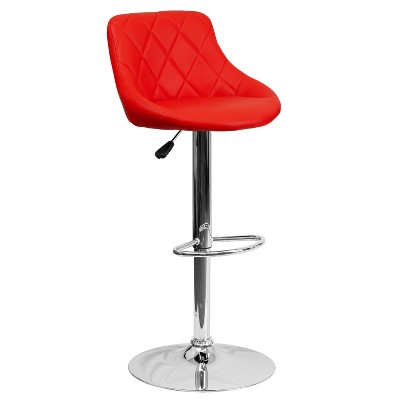 Flash Furniture Contemporary Vinyl Bucket Seat Adjustable Height Barstool with Diamond Pattern Back and Chrome Base